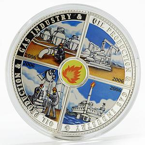 Cook Islands set of 4 coins Gas Industry and Oil Production silver coins 2006
