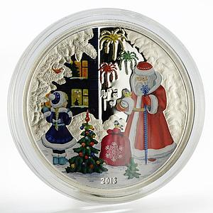 Cook Islands 5 dollars Happy New Year Santa Claus colored silver coin 2013