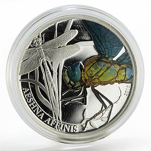 Palau 2 dollars Aeshna affinis dragonfly colored silver coin 2010