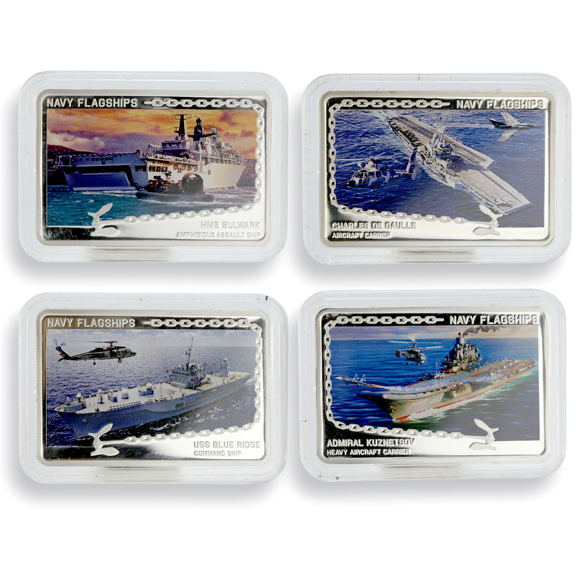 Tanzania set 4 coins Navy Flagships colored proof silver coin 2014