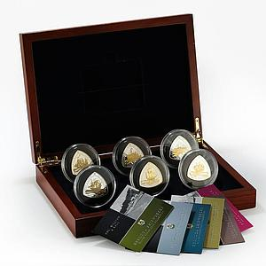 Bermuda set of 6 coins Ships Triangular silver proof gilded coins 2007