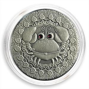 Belarus 20 Roubles Zodiac Signs Cancer Oxidized Silver Two Zircons 2009