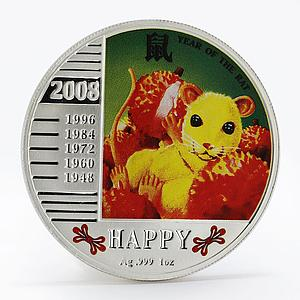 Niue 1 dollar Year of the Rat colored proof silver coin 2008