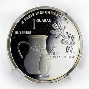 Paraguay 1 guarani Mate Tea pot and cup proof silver coin 2015