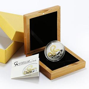 Togo 1000 francs Year of the Snake proof gilded silver coin 2013
