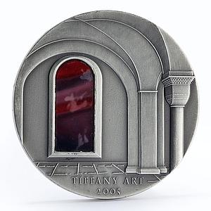 Liberia 10 dollars Tiffany Art fortress castle silver coin 2005