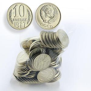 USSR lot of 100 coins 10 kopeks UNC random year Soviet Union Russia