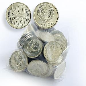USSR lot of 100 coins 20 kopeks UNC random year Soviet Union Russia