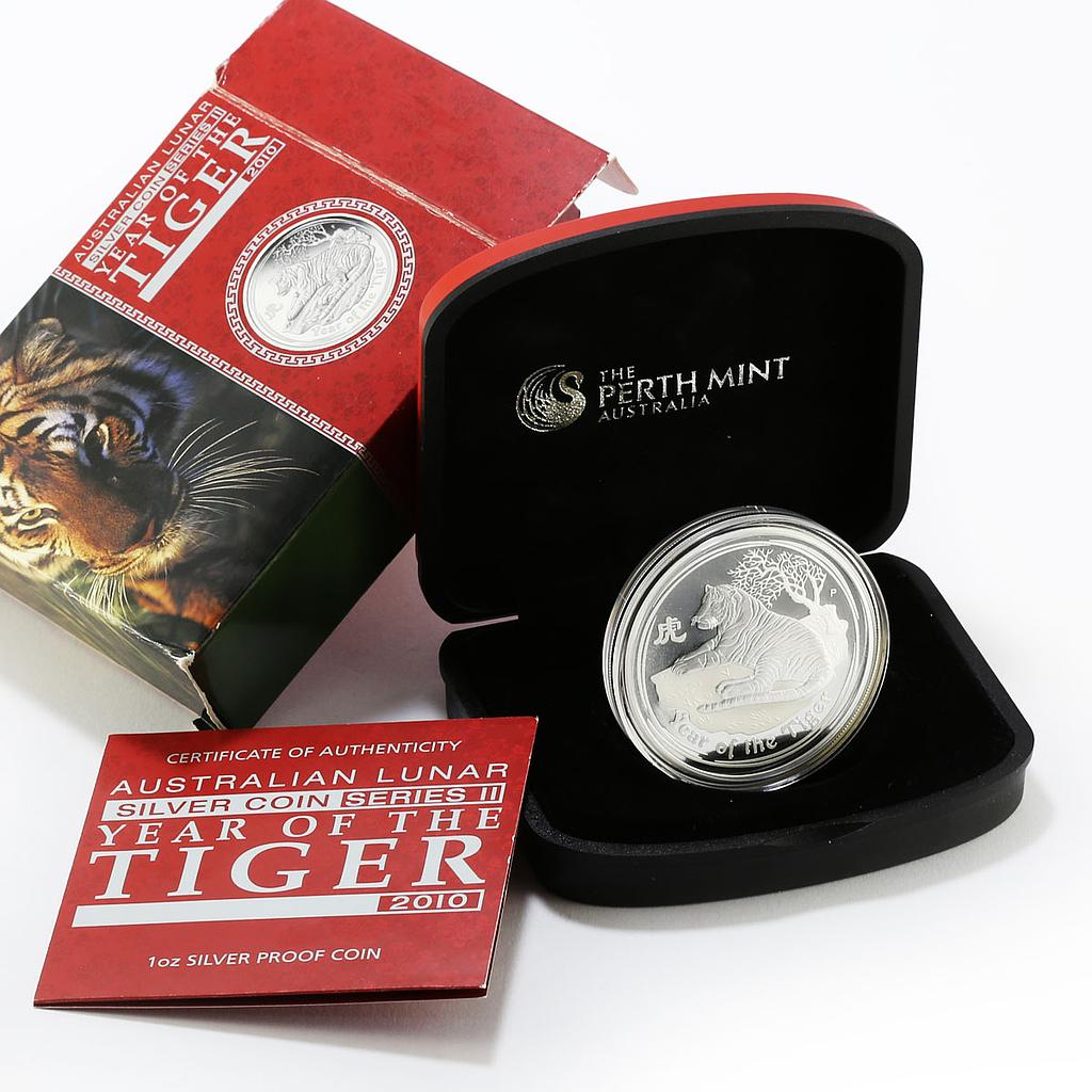 Australia 1 Dollar Year of the Tiger Lunar Series II silver proof coin 1 Oz 2010