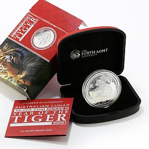 Australia 1 Dollar Year of the Tiger Lunar Series II silver coin 1 Oz 2010