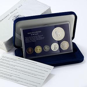 Barbados set 6 coins 25th Anniversary of Central Bank sea proof 1997