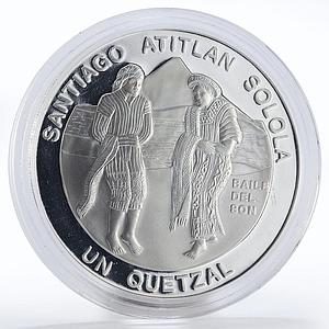 Guatemala 1 quetzal Traditional dance proof silver coin 1997