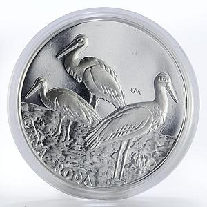 Croatia 200 kuna Baranja region Black Stork animal proof silver coin 1997