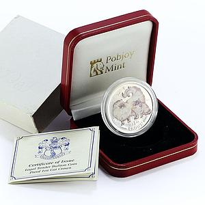 Isle of Man 1 crown Chinchilla cat silver colorized proof coin 2009