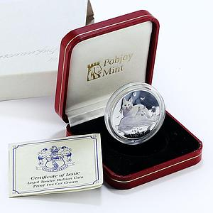 Isle of Man, 1 crown, Angora cat, silver, colorized, proof, coin 2011
