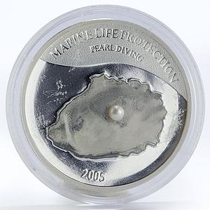Mariana Islands 5 dollars Marine Life Protection, Pearl, proof silver coin 2005