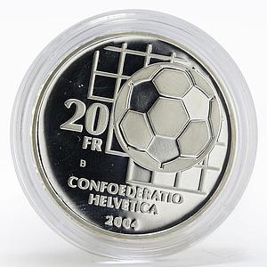 Switzerland 20 Francs FIFA centennial Football proof silver coin 2004
