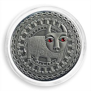Belarus 20 rubles, Zodiac Signs, Taurus, silver, zircons, coin, 2009