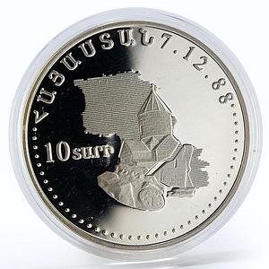 Armenia 10 drams 10th anniversary of the earthquake proof silver coin 1998