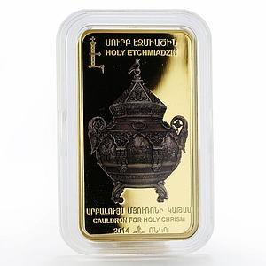 Armenia 1000 drams Cauldron For Holy Chrism Gilded proof silver coin 2014