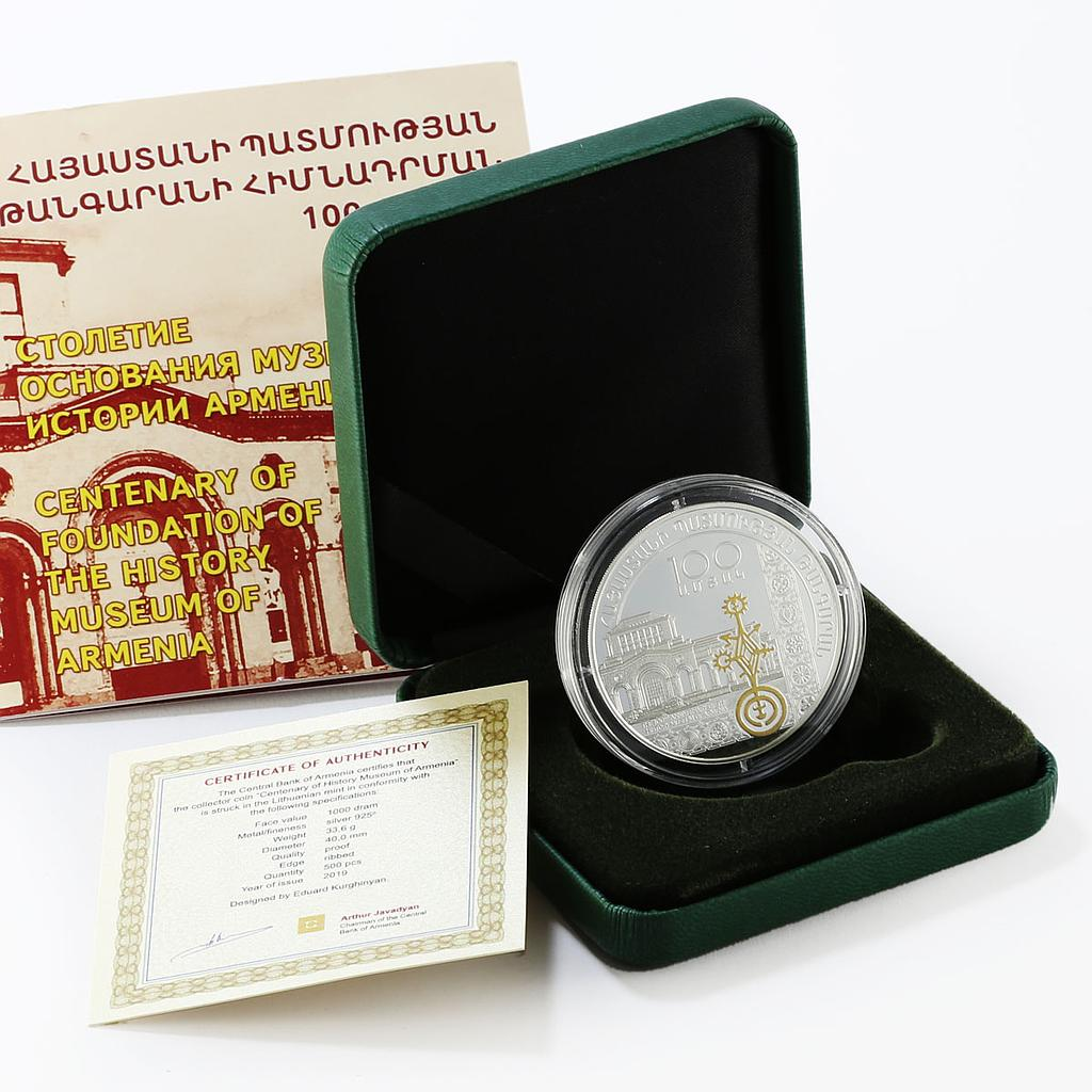 Armenia 1000 drams Centenary Of History Museum Of Armenia proof silver coin 2019