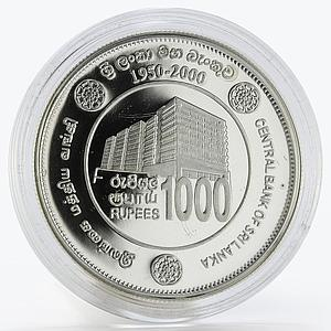 Sri Lanka 1000 rupees Building Central Bank 50 Years Silver Proof coin 2000