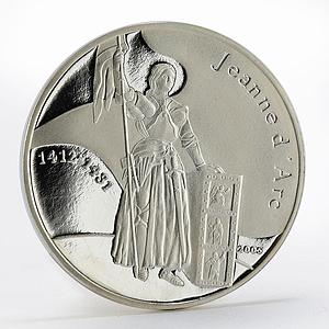 Congo 1000 francs Jeanne d'Arc proof silver coin 2005