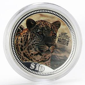 Namibia 10 dollars Multicolor leopard, Fauna proof silver coin 1995