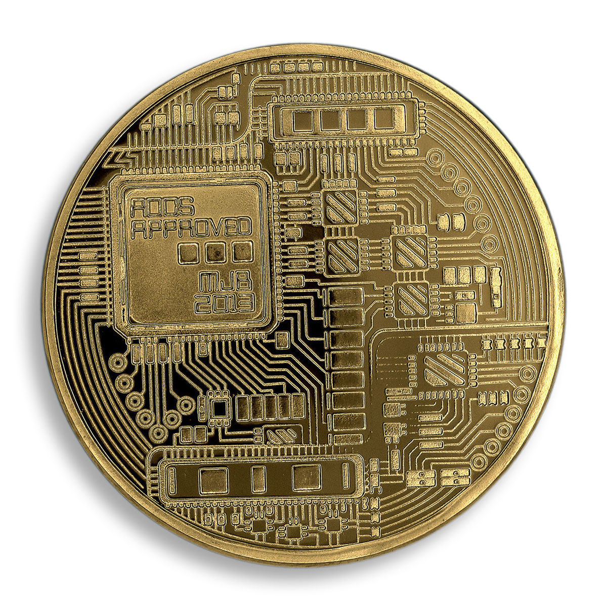Bitcoin, AOCS Approved, MJB 2013, Art, Gold Plated Coin, Token, Souvenir