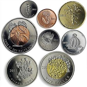 Bonaire set of 8 coins Flora Flowers Cactus Plants 2011