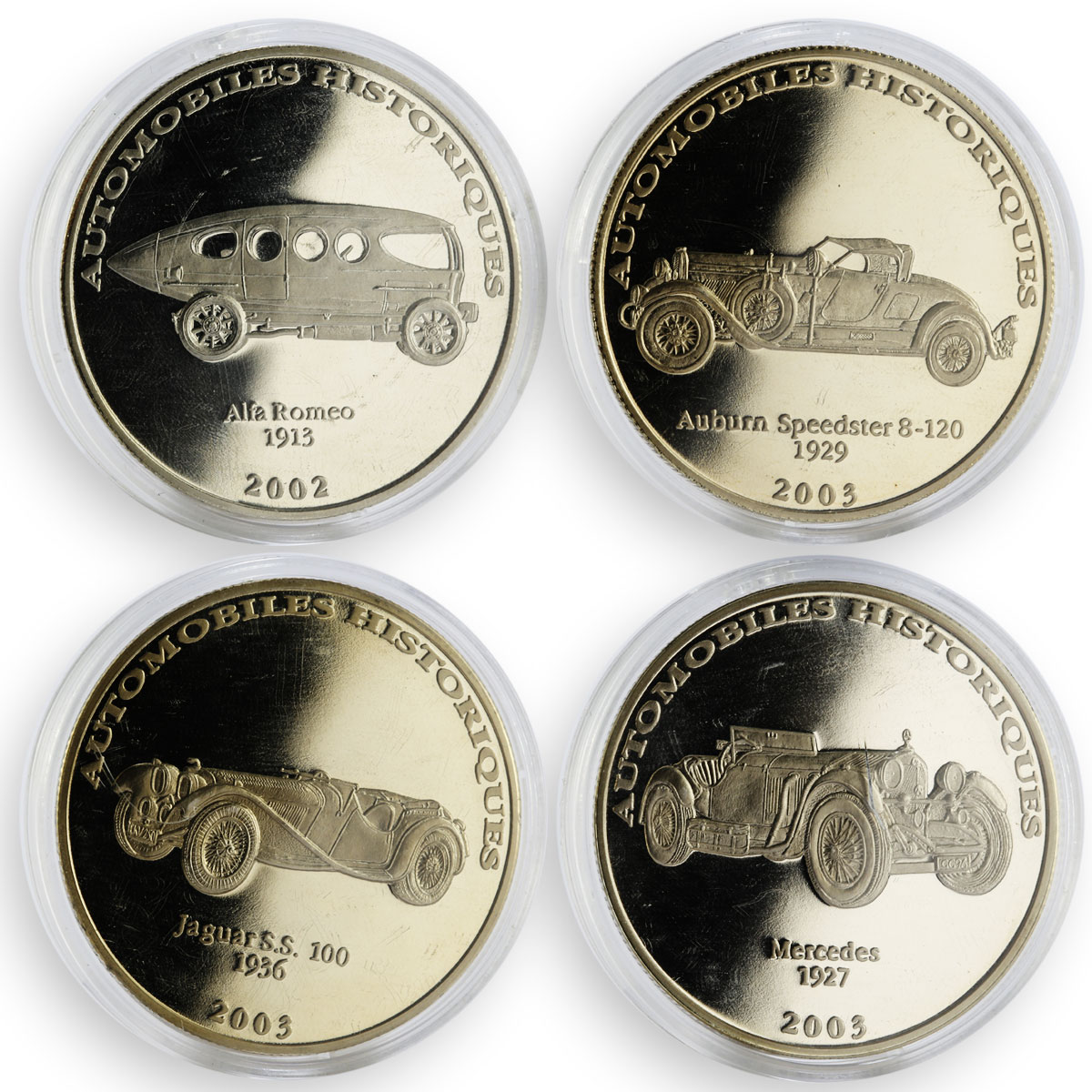Congo 10 francs set of 24 coins Cars Automobiles Collection 2002