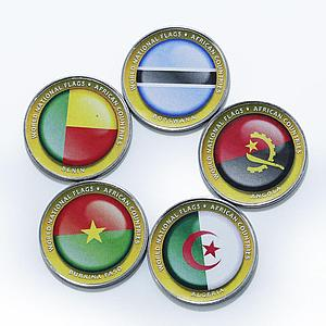 Bougainville Island 1 dollar Flags of African nations set of 5 color coins 2017