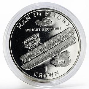 Isle of Man 1 crown Aircraft Man in Flight Wright Brothers proof silver 1995