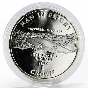Isle of Man 1 crown Aircraft Man in Flight Messerschmitt 262 proof silver 1995