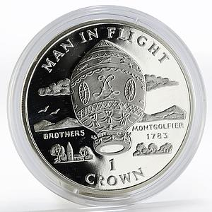 Isle of Man 1 crown Aircraft Man in Flight Brother Montgolfier proof silver 1995