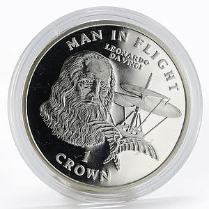 Isle of Man 1 crown Aircraft Man in Flight Leonardo Da Vinci proof silver 1995