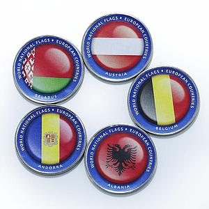 Bougainville Island 1 dollar Flags of European nations set of 5 color coins 2017