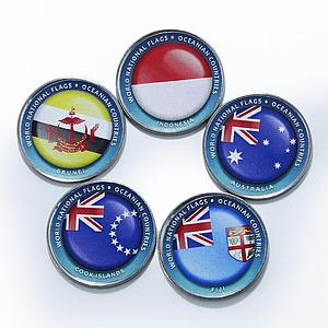 Bougainville Island 1 dollar Flags of Oceanian nations set of 5 color coins 2017