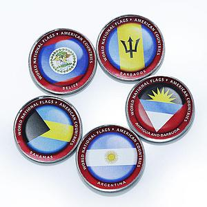 Bougainville Island 1 dollar Flags of South American nations set of 5 coins 2017