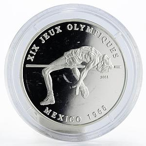 Chad 1000 francs Sport XIX Jeux Olimpiques Mexico 1968 proof silver coin 2003