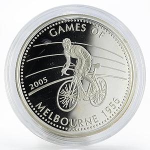 Ghana 500 sika Sport Bicycle Games of Melbourne proof silver coin 2005