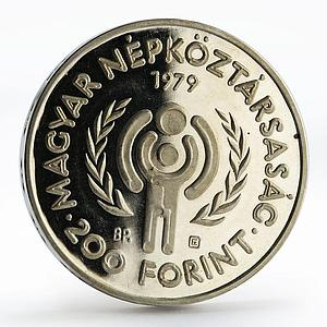 Hungary 200 forint International Year of Child piedfort silver proof coin 1979