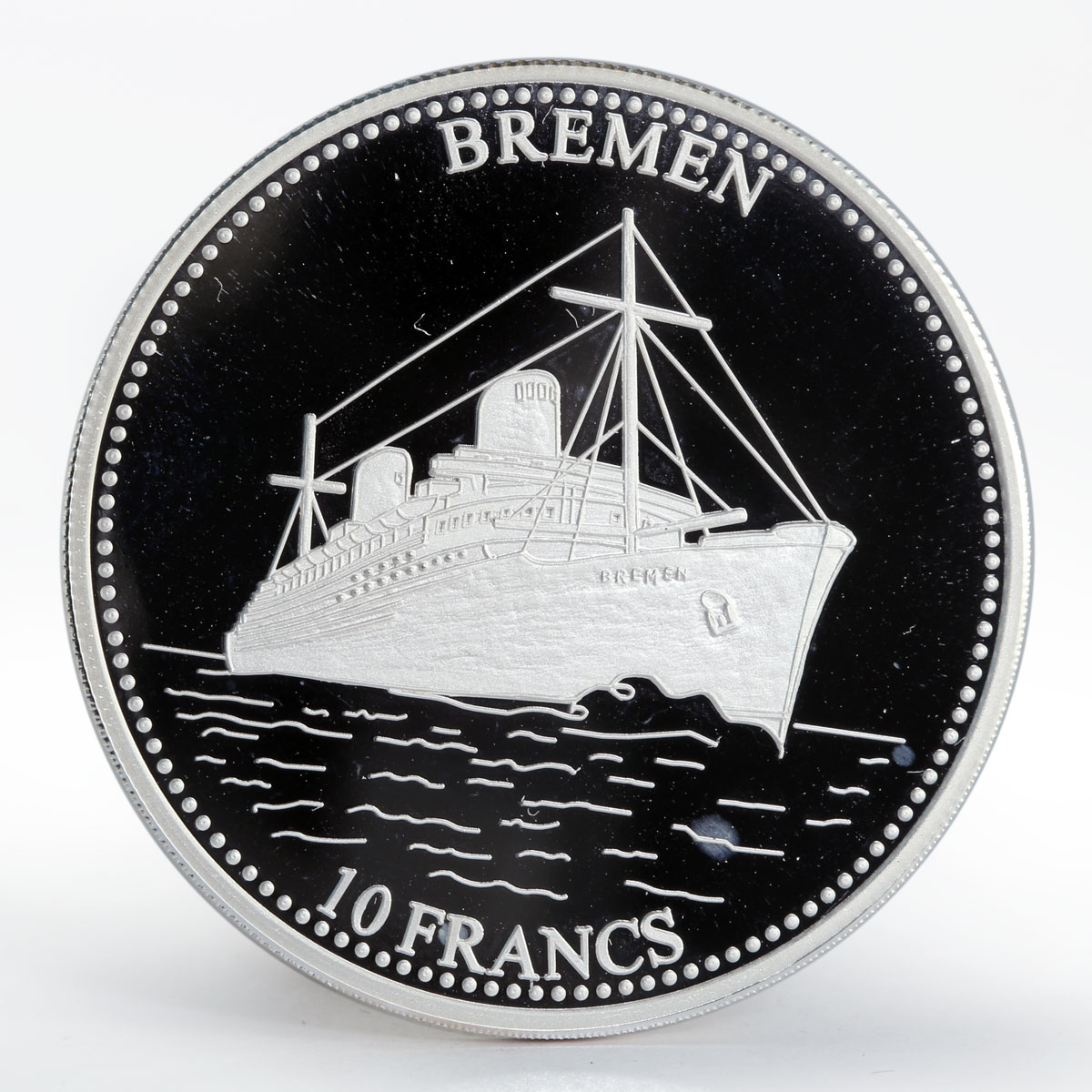 Congo 10 francs Ship Bremen silver proof coin 2001