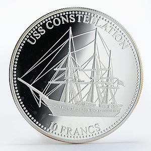 Congo 10 francs Ship USS Constellation silver proof coin 2001