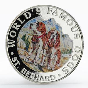 Guinea 7000 francs Famous Dogs St. Bernard colored proof silver coin 1994