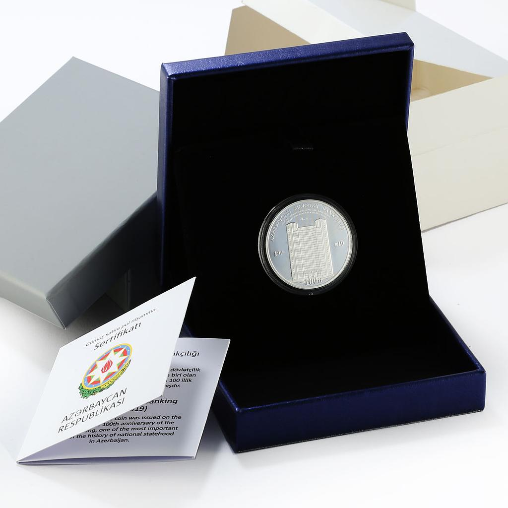 Azerbaijan 5 manat 100th Anniversary of the Central Bank silver proof coin 2019