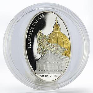 Liberia 10 dollars Habemus Papam Church gilded crystal silver proof coin 2005