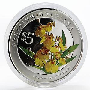 Singapore 5 dollars Flowers Oncidium Goldiana colored silver proof coin 2008