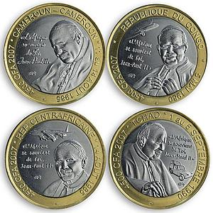 CAR Set of 4 coins of 4500 francs Pope Ioannes Paulus II 2007