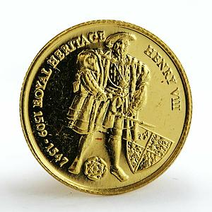 Falkland Islands 2 pounds King Henry VIII proof gold coin 1997